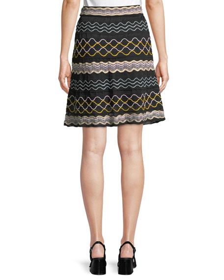 Ribbon Wave Striped A-line Skirt