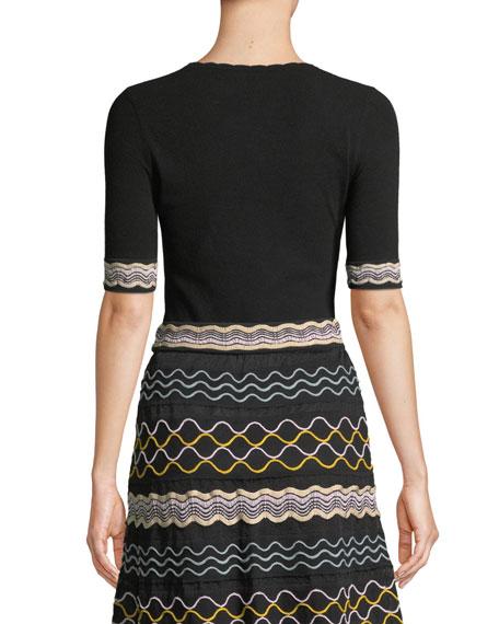 Ribbon Wave Stripe Short-Sleeve T-Shirt