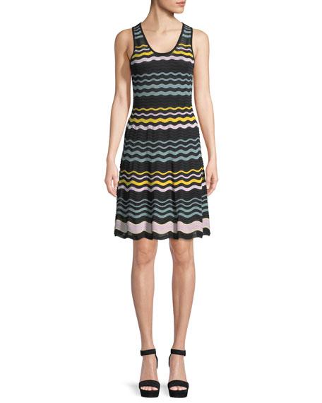Colorblock Sleeveless Ripple-Knit Dress