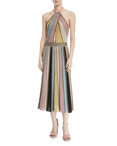 Crochet Striped Halter Dress, Sea