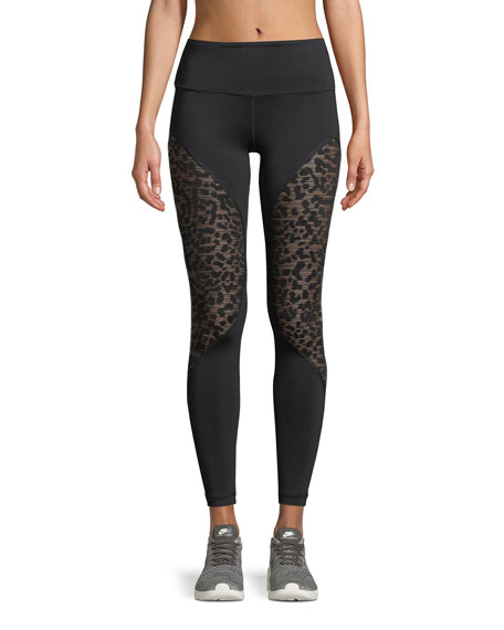 Bold Full-Length Performance Leggings with Cheetah Burnout