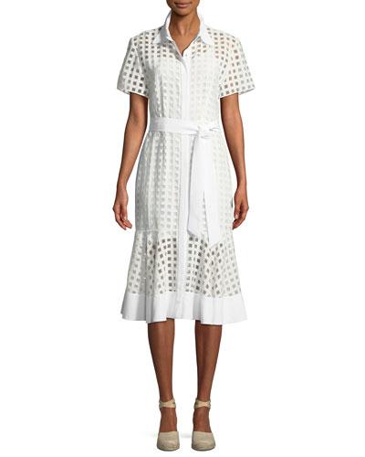 Haley Window-Check Short-Sleeve Dress