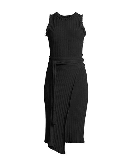 Ruffled Tie-Waist Wrap Dress