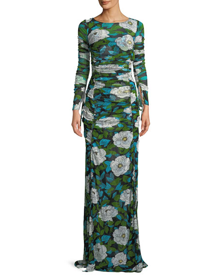 Floral Maxi Floor-Length Fitted Dress