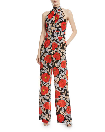 High-Neck Sleeveless Wide-Leg Floral-Print Silk Jumpsuit