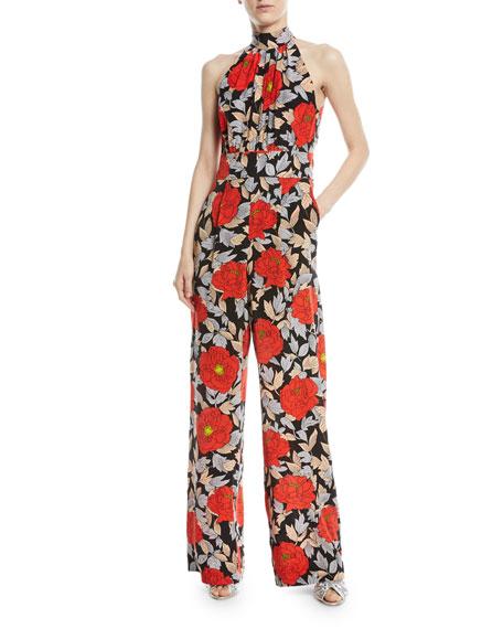 High-Neck Sleeveless Wide-Leg Floral-Print Silk Jumpsuit