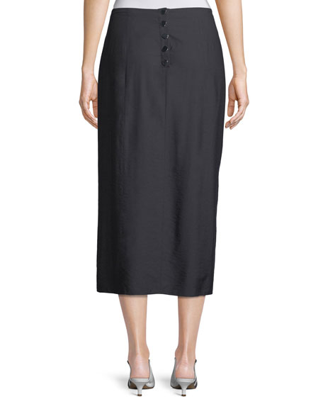 Washed Viscose Draped Midi Skirt with Snap Details