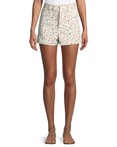 Vine-Embroidered Twill Shorts