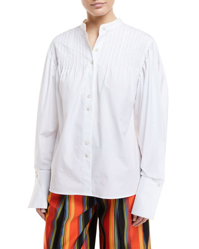 Long-Sleeve Button-Front Pintuck Cotton Shirt
