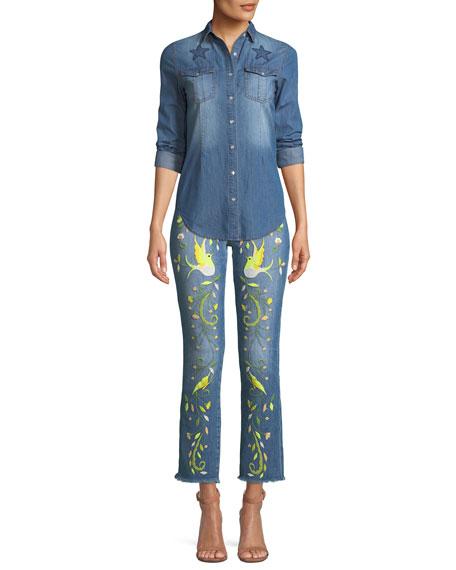 Embroidered Straight-Leg Jeans w/ Raw-Edge Hem