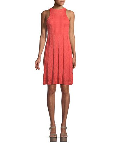 Textured-Knit Sleeveless Dress