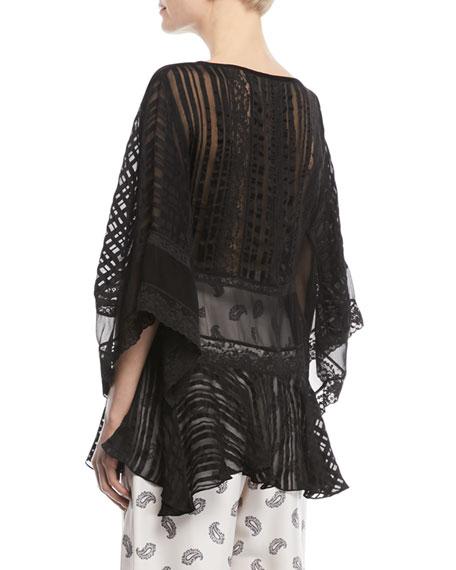 Breeze Veil Long-Sleeve Lace Blouse