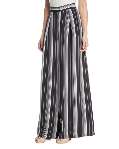 Breeze Wide-Leg Striped Silk Pants