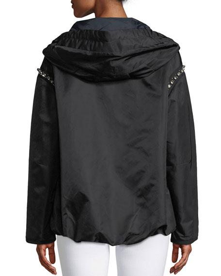 Cordierite Hooded Bejeweled Satin Jacket
