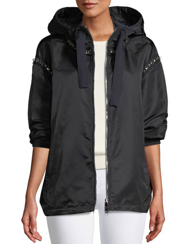 Cordierite Hooded Bejeweled Satin Jacket