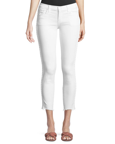 9326 Low-Rise Cropped Skinny-Leg Jeans with Braided Sides