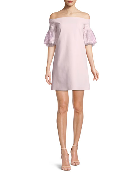 Joelle Lace-Sleeve Mini Cocktail Dress