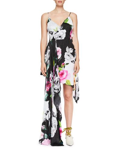 Draped Floral Silk Cami Dress