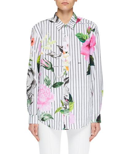 Striped Floral Button-Down Blouse