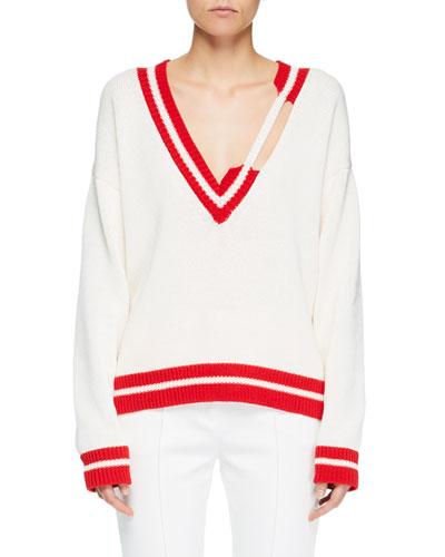 Distressed Knit Tennis Sweater