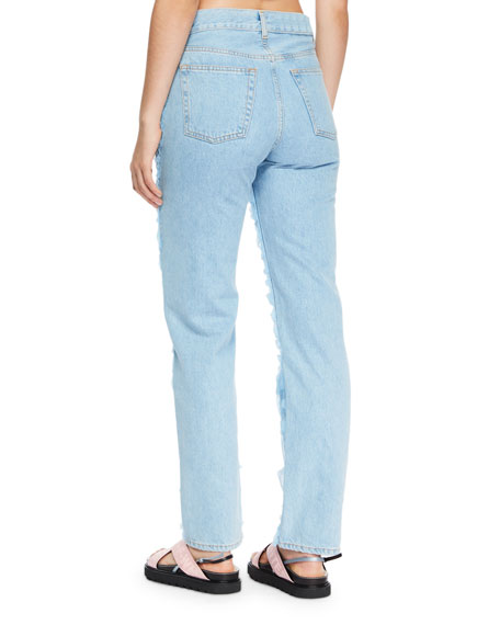 Tulle-Trim Denim Jeans