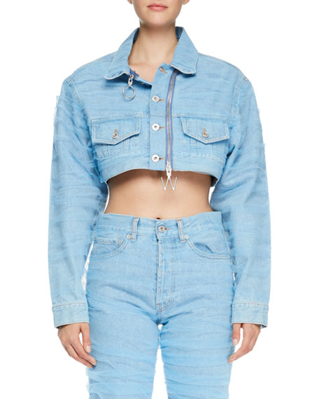 Cropped Zip-Front Jean Jacket