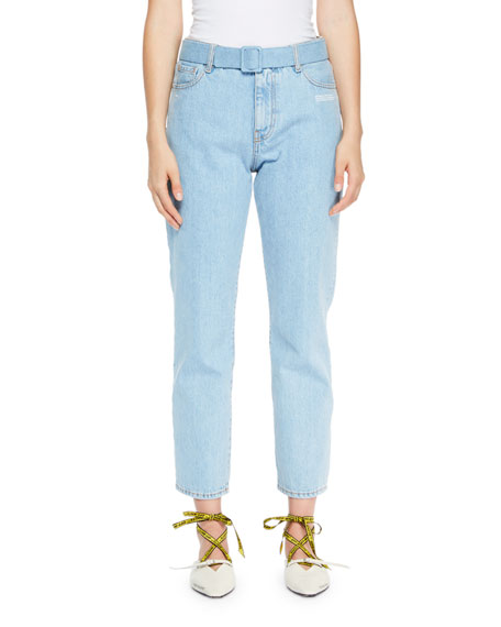 Belted Denim Ankle Jeans