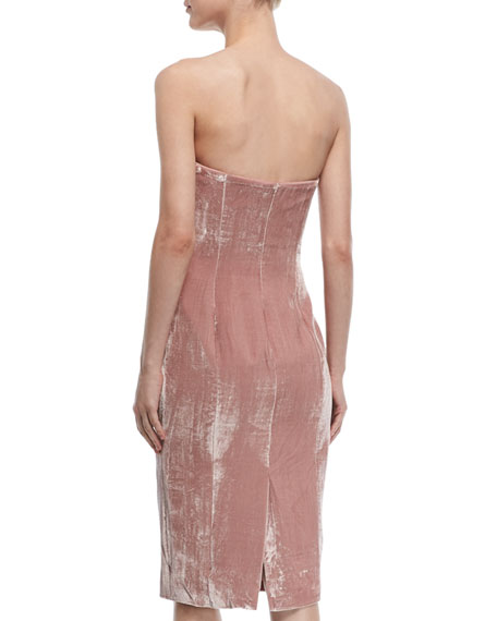 Marceau Strapless Velvet Fitted Cocktail Dress