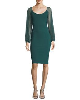 Narda Illusion Long-Sleeve Cocktail Dress