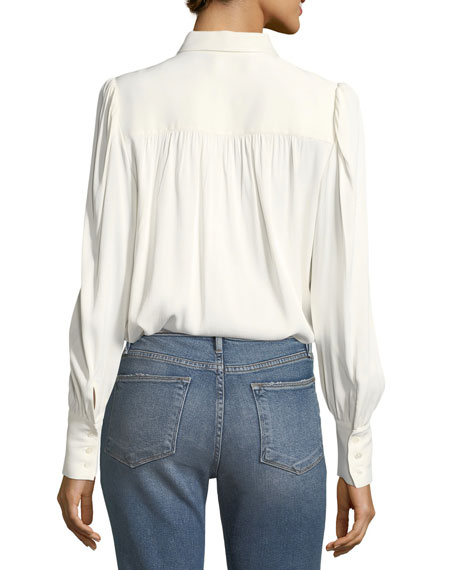 Button-Front Long-Sleeve Satin Blouse w/ Tie-Neck