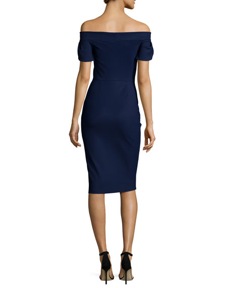 Maelle Off-the-Shoulder Sheath Dress, Navy