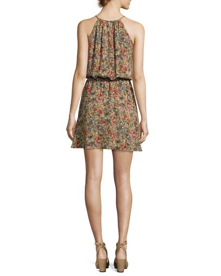 Reinelde Sleeveless Floral-Print Silk Dress