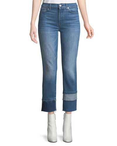 Edie Cropped Straight-Leg Jeans w/ Multi Fray Cuff