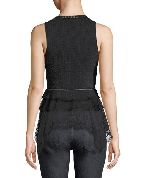 Deep V Sleeveless Silk Lace Tank