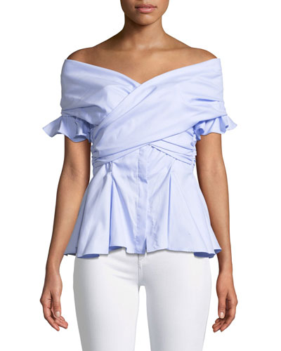 Wrapped Hook-Back Off-the-Shoulder Peplum Oxford Top