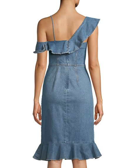 One-Shoulder Classic Denim Dress with Ruffles