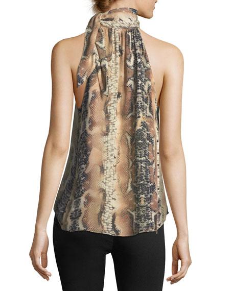 Hold-Up Necktie Snake-Print Silk Blouse