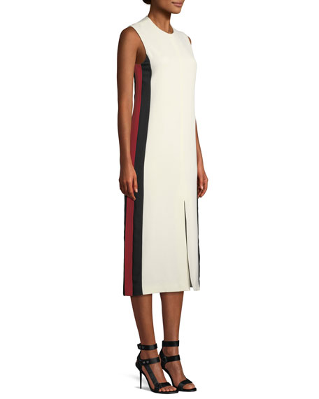 Selene Sleeveless Side-Striped Midi Dress