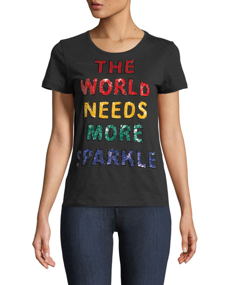 """Rylyn """"More Sparkle"""" Sequined Short-Sleeve Crewneck Top"""