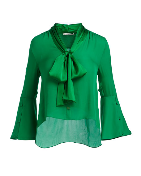 Meredith Tie-Neck Bell-Sleeve Button-Front Silk Blouse