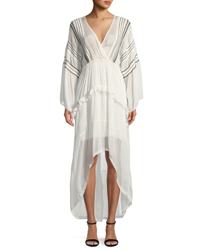 Opsey Surplice Long-Sleeve High-Low Dress
