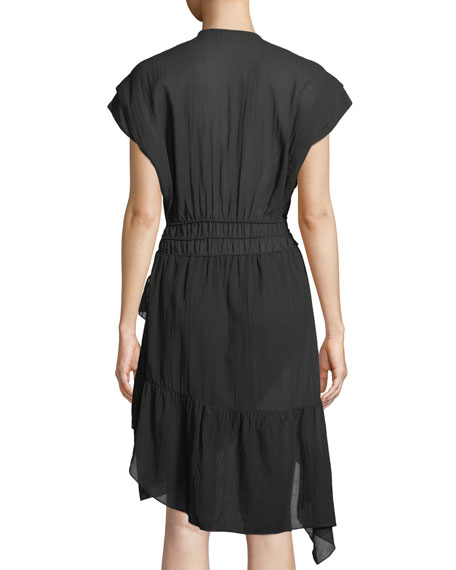 Foroura Deep-V Cap-Sleeve Dress