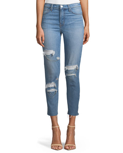 Genn Distressed Cropped Skinny Jeans
