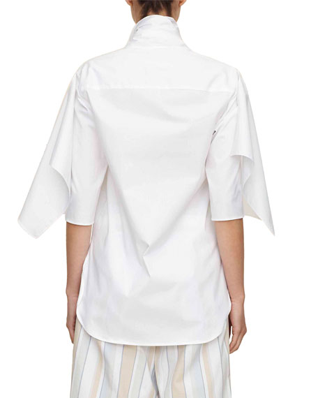 bow-tie half-sleeve button-down cotton shirt