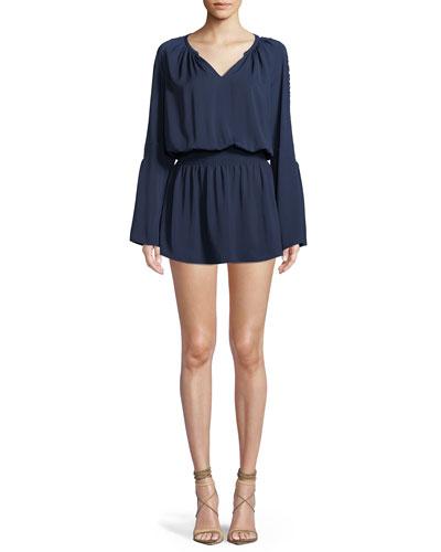 Briana V-Neck Long-Sleeve Mini Dress