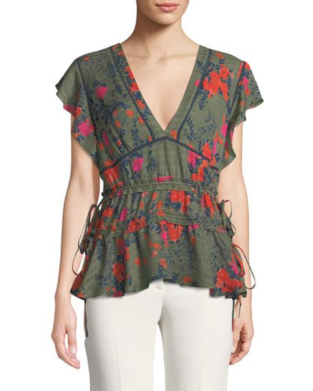 Anita V-Neck Floral-Print Silk Top