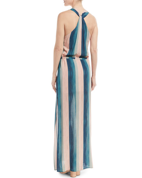 V-Neck Sleeveless Striped Coverup Maxi Dress