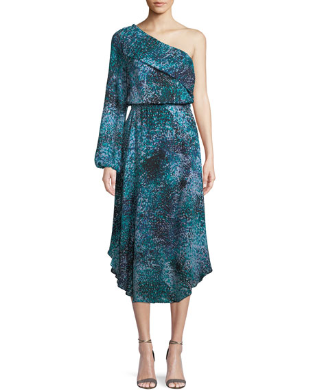 Courtney One-Shoulder Printed Silk Midi Dress