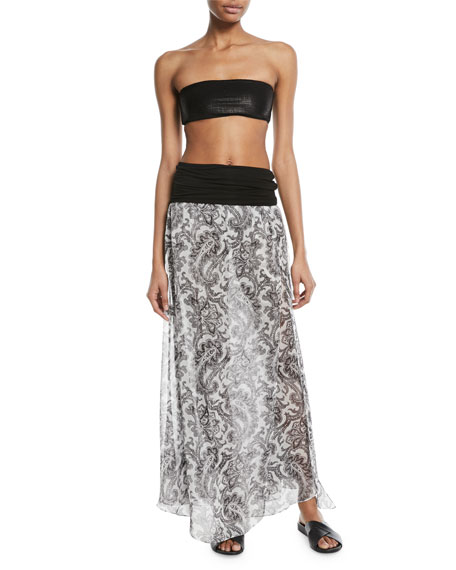Damask-Print Sheer Silk Maxi Skirt Coverup