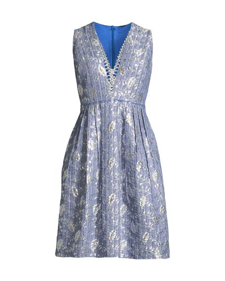 Jacquelle Sleeveless V-Neck Dress